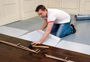 "Elastilon by Supra Floors is a nontoxic and emissions-free membrane with ergonomic, thermal, and acoustic properties that allow for stick-and-peel installation of 5/16"" to 1"" solid hardwood. This reduces installation time by 50% to 70%, according to the company. Elastilon can be used in any residential or commercial flooring application and allows hardwood to be installed on above- or below-grade concrete, which eliminates the need for subfloor construction, nails, or glue. Elastilon creates a floating floor that can be walked on immediately and affords easier access to the floor beneath than hardwood installed the conventional way. suprafloors.com"