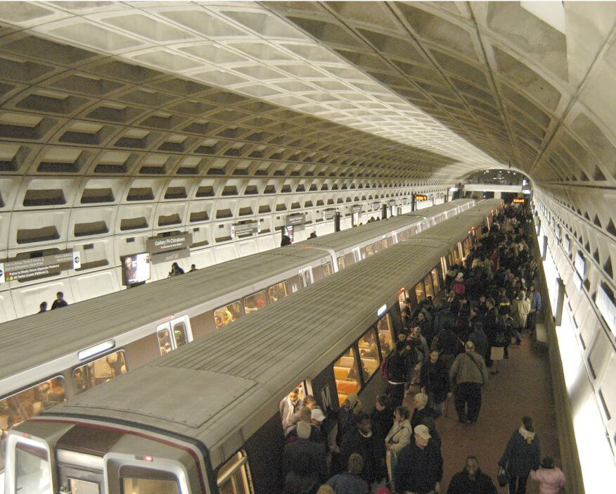 Gallery Place Metro Station, showing the coffered concrete vaults and soft lighting that characterize Weese's scheme.