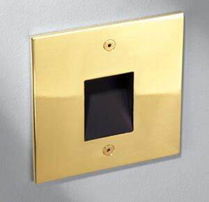 STEP01 LED step light    Winona Lightingwww.winonalighting.com  Surface-mount step light with a concealed optic - Eight LED colors available in both normal and high output configurations - Short, medium, or long distribution - Square, rectangle, or round face - Uses maximum of 4 watts - Solid aluminum, brass, or stainless steel face plates