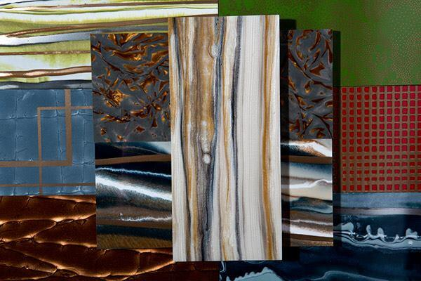 Kinon is a handmade finish that can add color and interest to walls, flooring, cabinetry, furniture, doors, and decorative details in commercial and hospitality environments. It is made of a resin hand cast in several layers onto a user-specified substrate, which can be MDF, aluminum, foam core, aluminum honeycomb, acrylic, or PVC. Panels come in up to 5'-by-12' sizes and in more than 135 patterns and textures (tk shown). kinon.com