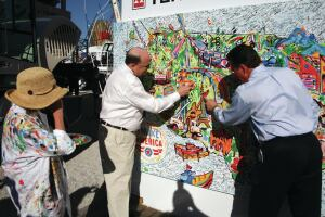 """During CONEXPO-CON/AGG 2014, more than 1,300 people visited the Terex exhibit to contribute to the manufacturer's """"I Make America"""" artwork."""