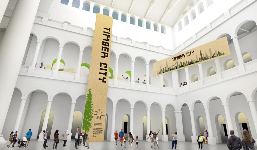 Rendering of the CLT panels that will be installed in the National Building Museum's Great Hall for the Timber City exhibition.