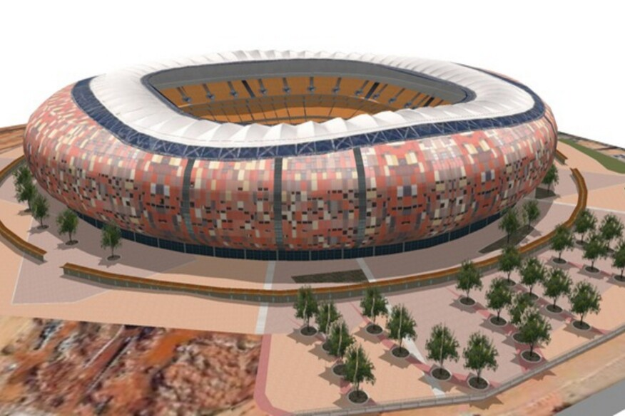 Soccer City Stadium in Johannesberg, rendered in SketchUp