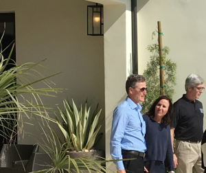 New Home Company coo Tom Redwitz, chief marketing officer Joan Marcus-Colvin, and svp-operations Robin Koenemann at Monday's walk-through at Coral Crest.