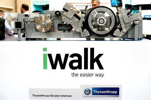 Sustainability is valued at the German company ThyssenKrupp, which counts elevators among its divisions. The international company mandates all products to have life cycle assessements. Shown is IWalk moving walk, which can be pitless or installed with a compact, 15-inch-tall pit, making feasible its installation in airports and facilities with little infrastructure space.
