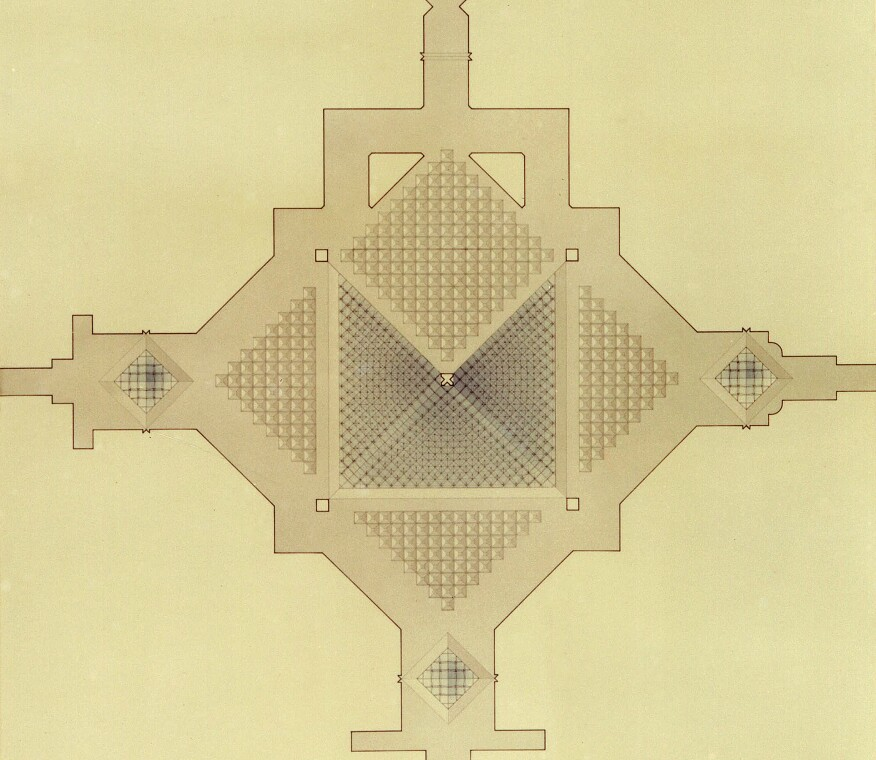 Reflected ceiling plan of the pyramid and underground passageways