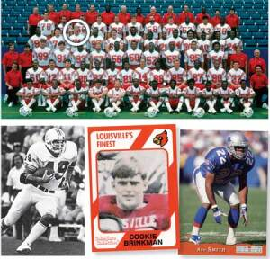 GAME CHANGERS: Among the former NFL players who have gone from the gridiron to the lumberyard are, clockwise from top: Benton Reed (circled) with the 1987 New England Patriots; Rod Smith, also of the Patriots; Cookie Brinkman, who after college played for the Bengals, Browns and Bills; and Charlie Babb, who played for the Dolphins. Opposite page: Lee Roy Jordan of the Cowboys.