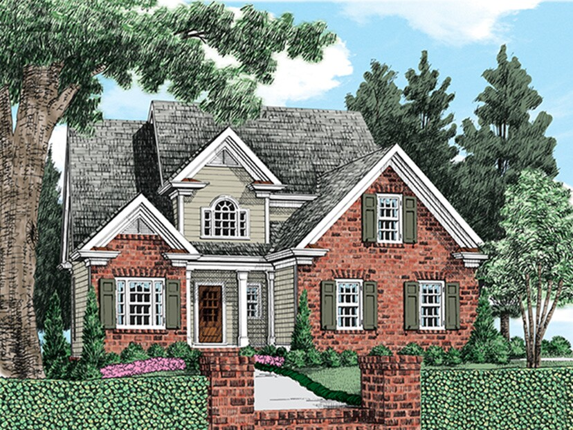 The original plan included a side-entry garage, brick that covered only sections of the exterior, and columns at the front entry.