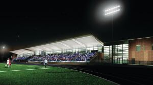 As part of an emerging trend to create efficiencies by locating multiple services under the same roof, the NAU Health and Learning Center will house recreation, athletics, academics, and student health services and incorporate the rebuilt Lumberjack Stadium. By consolidating multiple building programs into one, NAU was able to save approximately $12 million in construction costs.
