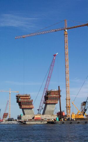 Construction of the Ravenel Bridge over the Cooper River used 330,000 cubic yards of concrete.