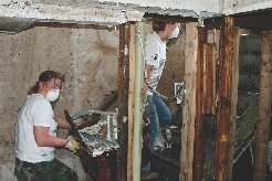 Properties that weren't gutted and dried promptly after the flooding suffered the worst damage, rendering some of htem good for little than demolition.