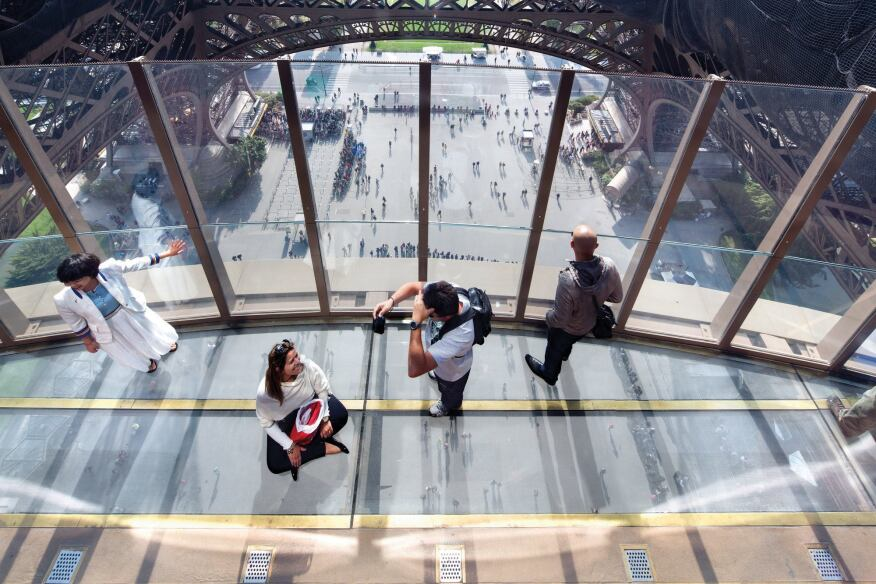 Of all the first floor's new features, the glass skywalk on the interior perimeter seems to delight visitors the most.