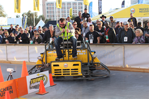 The crowd flocked to the 2016 Trowel Challenge and watched as the eventual champion Kevin Suchy, owner/operator of Easy Lane Concrete, made his way though the course.