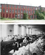 Workers at the Lawrence Manufacturing Co., which dates back to 1833, assembled undergarments and hosiery in this Massachusetts mill. These days, the mill houses a mix of condo units.