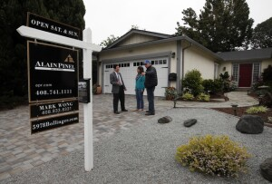 Paul and Ruby Callary speak with their realtor Mark Wong, left, before an open house Sunday morning, April 3, 2016, at their home of 27 years in San Jose, Calif. (Karl Mondon/Bay Area News Group)