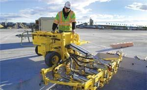 Pneumatic-powered concrete drills made it possible to drill the dowel bar holes without causing delays to the construction schedule.