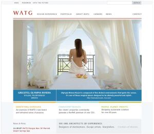 "after  With full-screen images and background technology that makes it easy to add a blog post or details of a new project, the new website that WATG launched in September is far more interactive and inviting than the old one. ""We went from a lead a week [through the site] to a lead a day,"" says Wolff. ""Some clients say they can attribute bookings to guests coming initially to our site."" The site also does a much better job at reaching out to prospective employees via job postings and employee blogs."