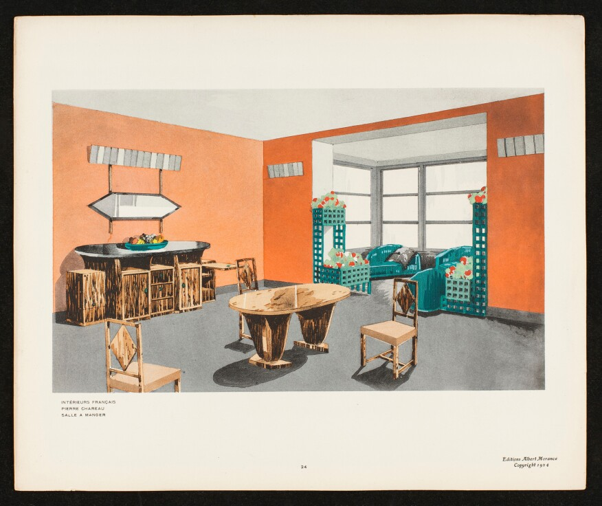 Chareau's sketch for a dining room (1924)