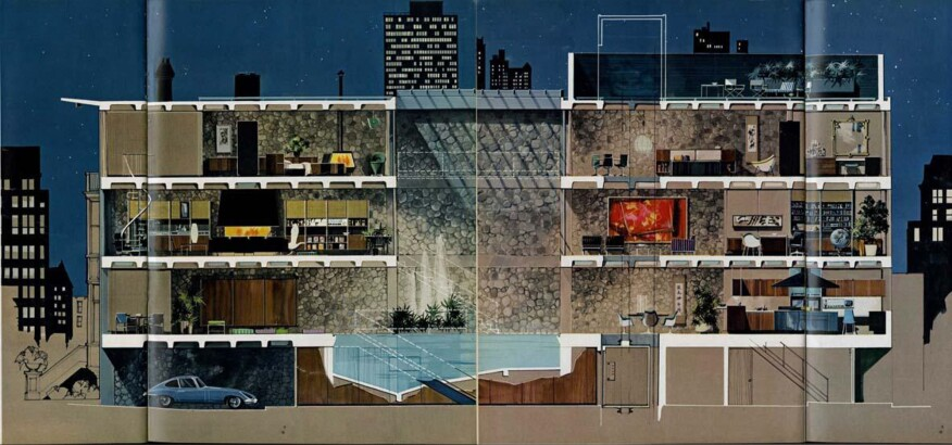 R. Donald Jaye's The Playboy Townhouse, published in the May 1962 issue (rendering by Humen Tam)