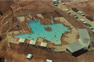 Bird's eye view of the Texas Pool from 1960