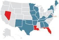 Red states and D.C. have interior design practice acts. Blue states have I.D. title regulators.