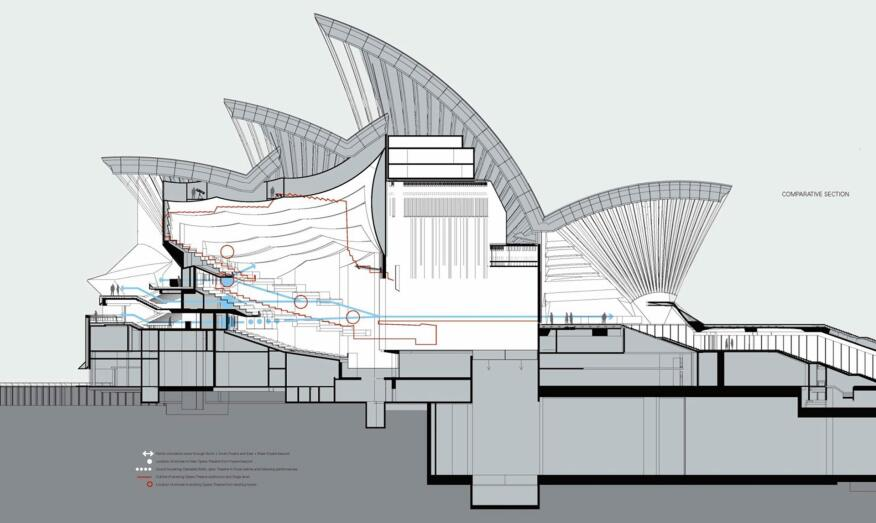 Section through opera theater, showing the proposed reconfiguration