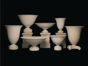 The Robert A.M. Stern Collection of cast-stone planters from Haddonstone was designed in collaboration with Robert A.M. Stern Designs. The first two ranges in the collection are the Athenian (shown) and the Olympian, both launched earlier this year. The Athenian range features assorted urns on bases inspired by Art Deco and Art Moderne ornaments. The Olympian range alludes to the shapes of ancient and neoclassical vessels and includes two bowls, two urns, and a tall, slim amphora. haddonstone.com