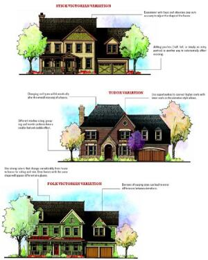 VARIATIONS ON A THEME: A basic brick colonial can morph into a variety of elevations through the use of different roof types, strong colors, different window sizing, porches, and pop-outs.