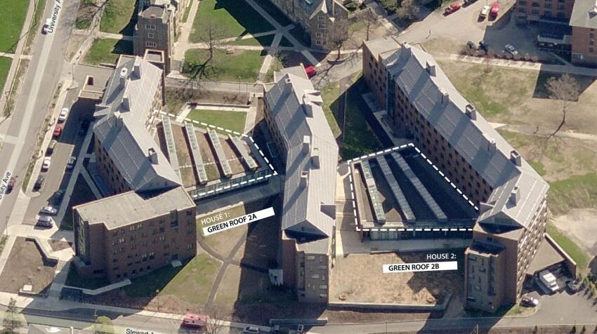 An aerial view of Cornell campus dormitories shows KieranTimberlake's green roofs outlined in white; the Carl L. Becker House is at the right side of this image.