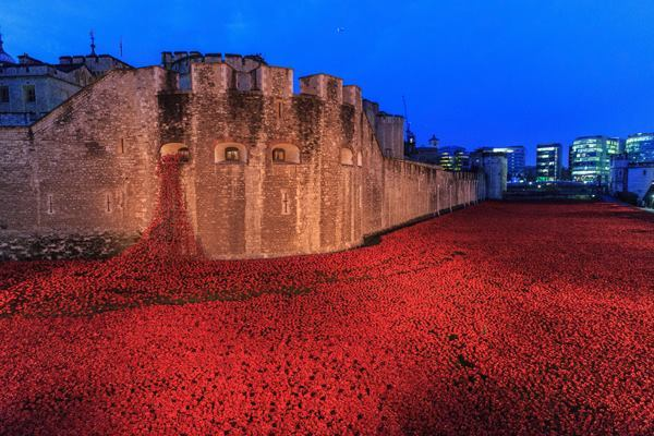 An installation of more than 800,000 ceramic poppies in the dry moat surrounding the Tower of London closes on Nov. 11.