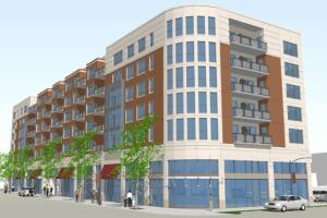 Grove Place in Chicago is planned as a mid-rise seven-story building of 83 one- to three-bedroom condos and townhouse units situated above approximately 12,500 square feet of ground-floor commercial space. Click here for a case study of the project.