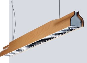 Zumtobel  www.zumtobel.com  Beechwood and walnut finish options  Available in direct and direct/indirect models  Lamping options include 28-watt T5 or 54-watt T5HO for the direct fixture; 35-watt T5 or 80-watt T5HO for the direct/indirect  Eternit synthetic concrete fiber finish  Specular louver options available
