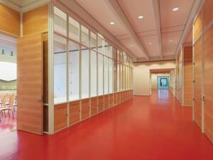 An alternative to traditional aluminum hollow metal frames for fire-rated applications, the Fireframes Aluminum Series from Technical Glass Products features custom extrusions and frames can be factory finished to match almost any color scheme. The system combines aluminum frames and doors with Pilkington Pyrostop glass to form a barrier against radiant and conductive heat transfer, allowing wide areas of glazing in fire separations. The system carries a 60-minute fire rating as a wall assembly and may offer 20-, 45-, or 60-minute ratings for doors. It also helps maintain clear lines of sight throughout interior spaces, permitting natural light to reach far into a building. fireglass.com