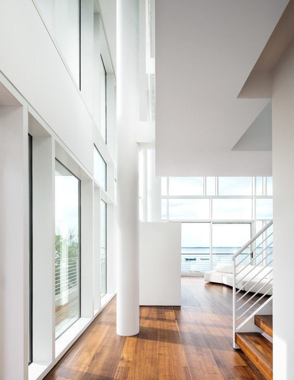 View of the living room, toward the water.