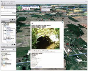 The MS4 outfall inventory management system includes an MS Access database to  input and store data. Users can import the data into Google Earth to create  customized maps. Photo: DLZ OHIO Inc.