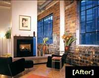 BRICK ATTACK: Original brick walls, 13-foot concrete ceilings, hardwood floors, and built-in fireplaces create a true loft atmosphere at Rainbow Lofts. Sales started when the building was 75 percent finished because the developer wanted to clearly convey the units' distinctiveness.