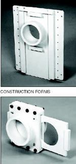 Top: This shutoff valve is bolted directly onto the formwork. Bottom: When a flange is mounted on a form, a shut-off valve looking like this is usually welded to the flange.