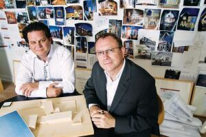"""Visioning charrette"" sounds like a design-related process, but Archimania principal Todd Walker (left) emphasizes that the meeting with clients is not project-related. What is it about? Principal Barry Alan Yoakum explains: ""We want to get into their business. We want to get in their heads."""