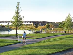 Residents have access to swimming pools, 30 miles of walking and biking trails, community gardens, tennis courts, sports fields, parks, restaurants, shopping, and offices.</p><br /><br /><br /><br /><br /> <p>