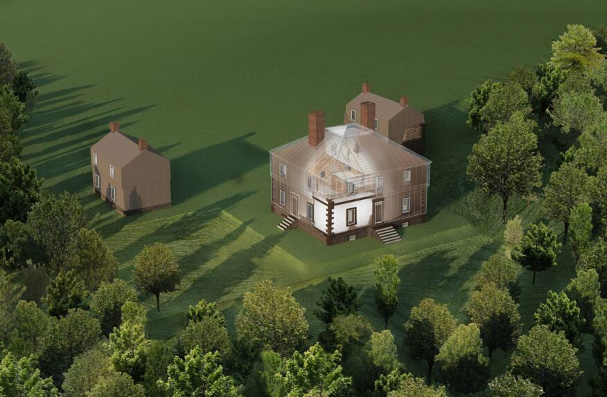 Southwest aerial view of the proposed Menokin house.