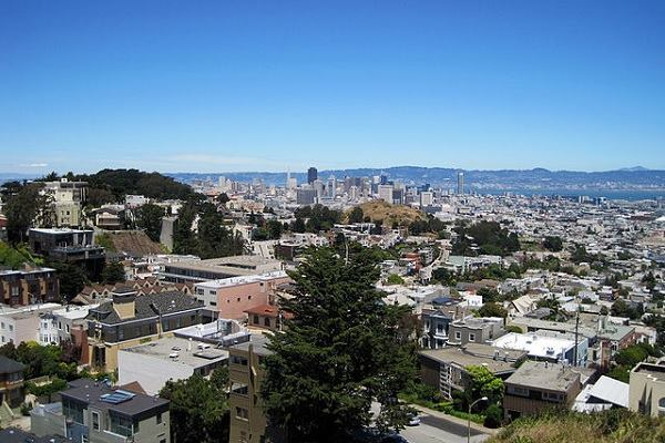 A view of downtown San Francisco from Tank Hill