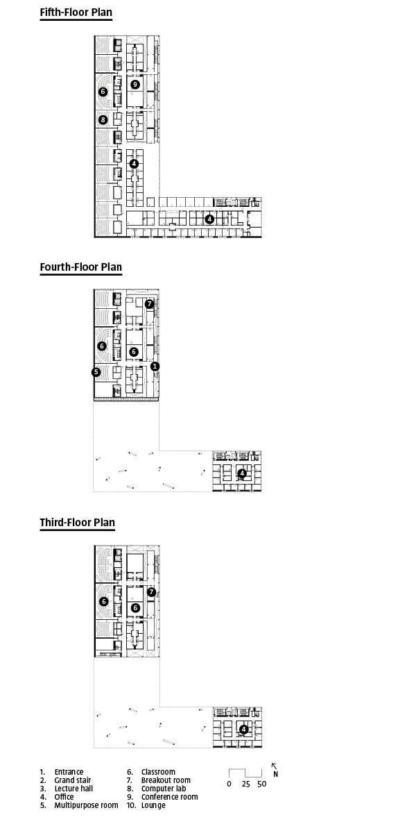 Flloor plans for levels three through five.