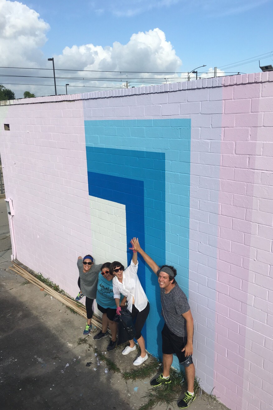 The group completed a mural as part of a design project for a community gathering space.
