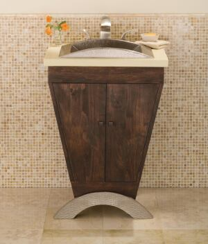 Native Trails. The Yanama vanity features solid FSC-certified cherry wood and a 100% recycled 16-gauge hand-hammered copper foot that coordinates with the companys sinks. The unit measures 24 inches wide by 21 1/2 inches deep by 34 inches high. The foot comes in an antique or brushed nickel finish. 800.786.0862. www.nativetrails.net.