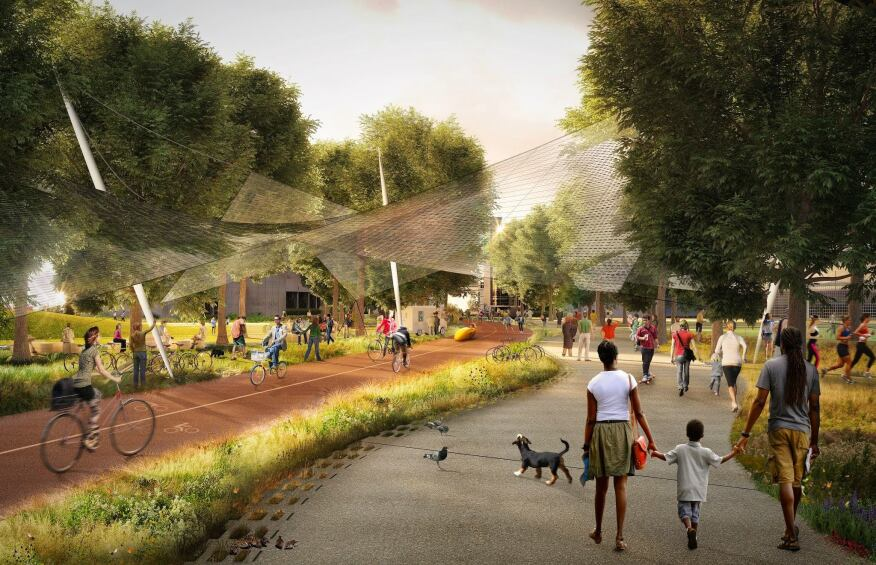 A rendering of the Green Loop bike and pedestrian path.