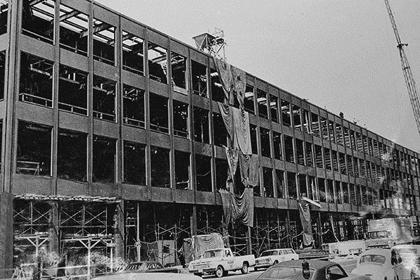 The under-construction MLK Library.