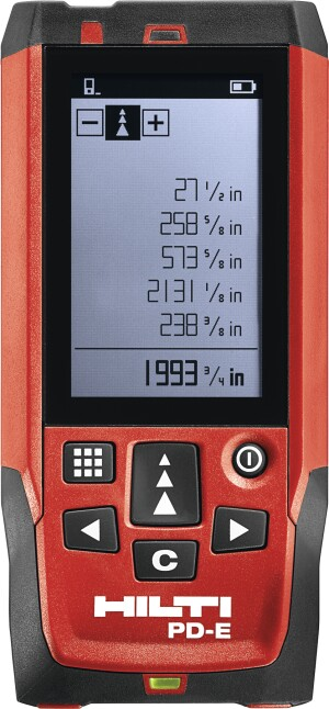 The Hilti PD-E Laser Range Meter has an ample screen display for easy viewing of measurements in a variety of conditions.
