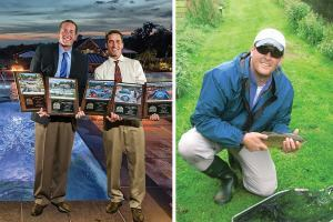 Winners: Matt and Andy Lusk (L-R) proudly hold their company's 2014 NESPA design awards. In photo on the right, Matt fishes on the River Test in England, known worldwide for its excellent trout fly fishing.