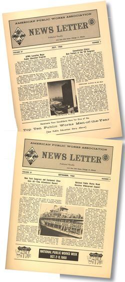 The American Public Works Association asked more than 3,000 mayors for proclamations of support when it launched National Public Works Week in 1960. These are a two of the association's newsletters from that inaugural year. Photos: APWA
