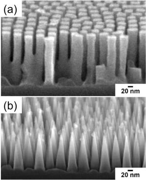 Side view scanning electron microscope image of a silicon surface textured with (a) cylindrical pillars and (b) nanocones.